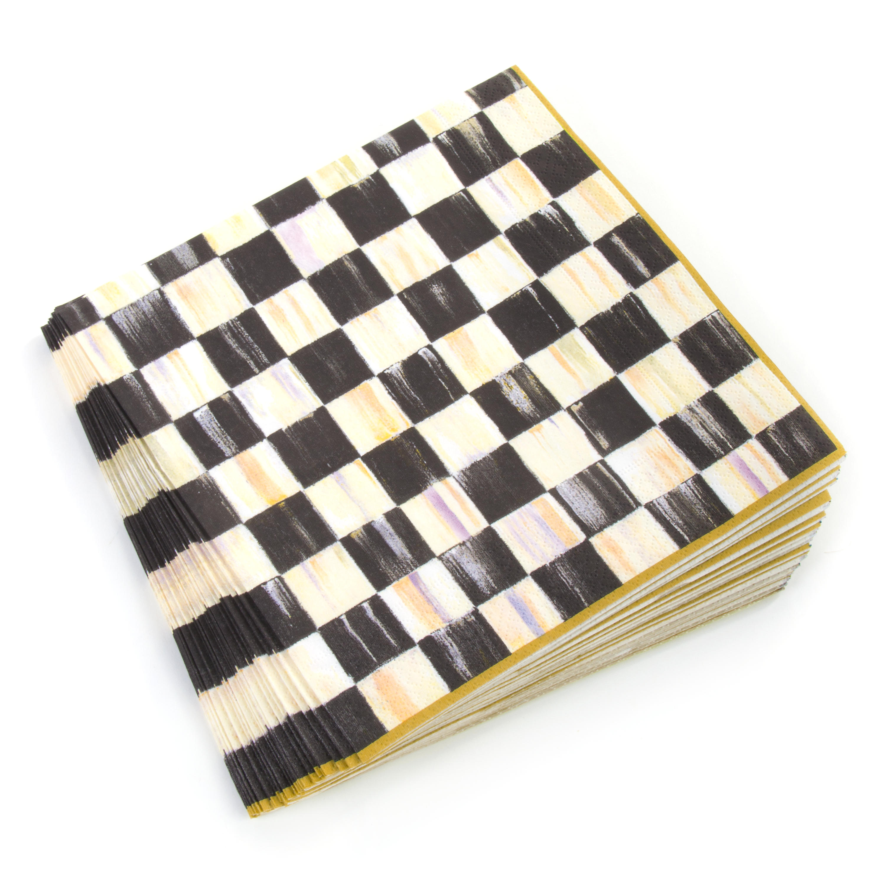 Mackenzie-childs Courtly Check Paper Napkins Luncheon 20 Per Pack Gold Last Style