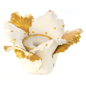 Gold & White Daffodil Candle Holder