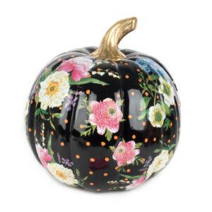Medium Black Flower Market Pumpkin