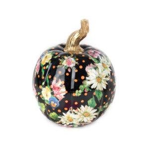 Small Black Flower Market Pumpkin