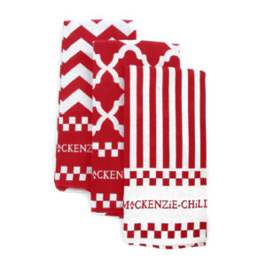 Red & White Zig Zag Dish Towel - Set of 3