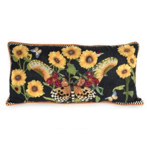 Black Monarch Butterfly Lumbar Pillow