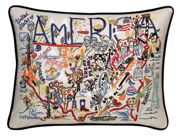 America Embroidered Pillow