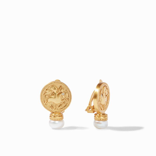 Julie Vos Coin Clip-On Earring - Pearl