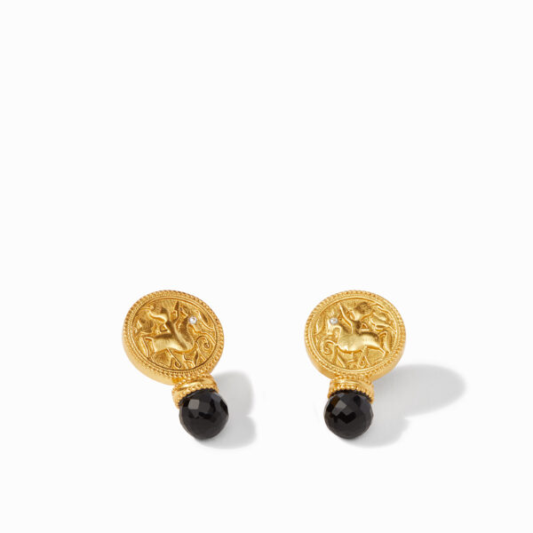 Coin Earring - Black Onyx