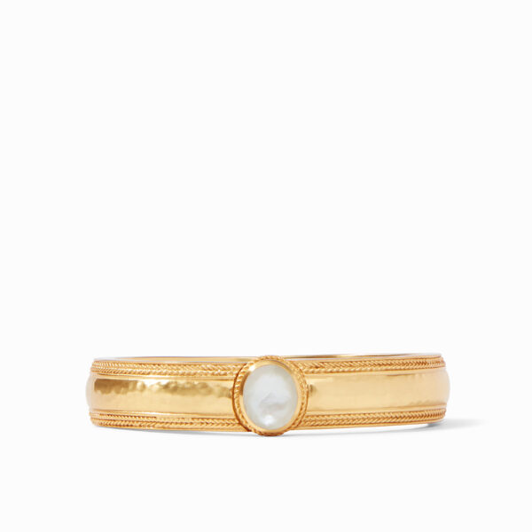 Coin Hinge Bangle - Iridescent Clear Crystal