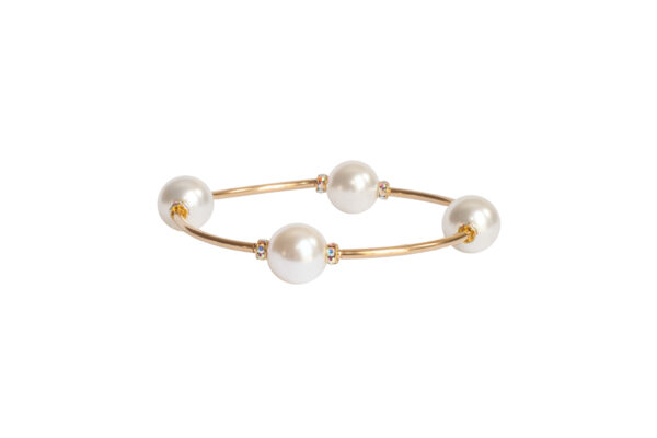 White Pearl & Crystal Blessing Bracelet with Gold Links