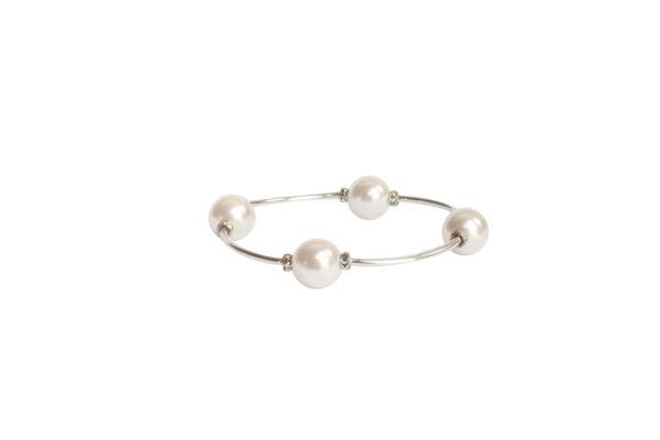 White Pearl & Crystal Blessing Bracelet