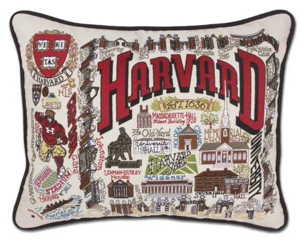 Harvard University Embroidered Pillow