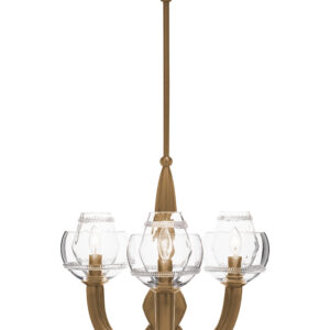 Dean Double Shade on Paris Chandelier in Brass