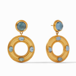 Julie Vos Olympia Statement Earring - Iridescent Azure Blue