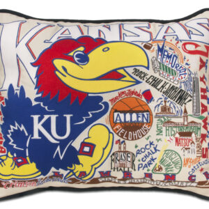 University of Kansas Embroidered Pillow