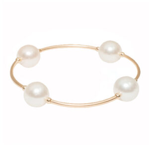 White Pearl Blessing Bracelet with Gold Links